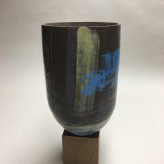 Vase faïence chocolat - décors engobes et Mishima